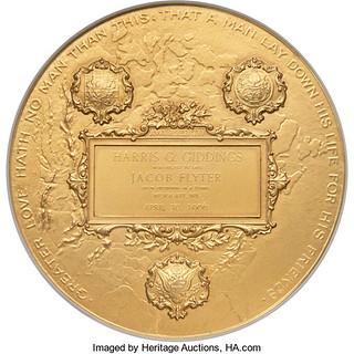 1906 Gold Carnegie Hero Fund Medal reverse
