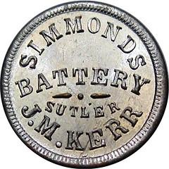Simmonds Battery Kentucky Civil War Sutler Token obverse