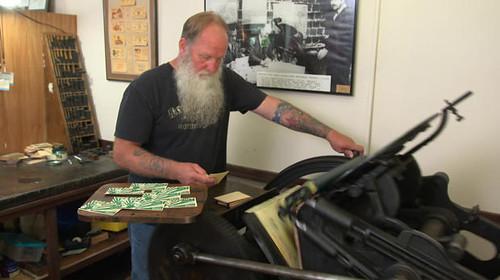 Tenino wooden money printing press