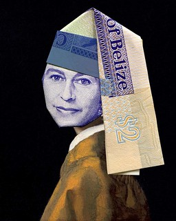 Banknote origami Girl With Pearl Earring