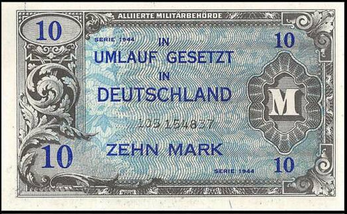 1944 Germany Allied military currency 10-mark note