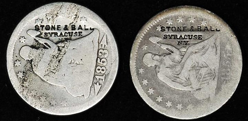 Stone and Ball counterstamps on Liberty Seated Quarters