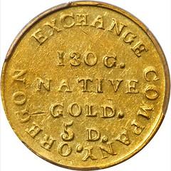 1849 Oregon Exchange Company $5 reverse