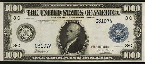 1918 $1000 Federal Reserve Note