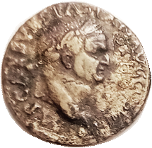 Dupondius of Vespasian struck over a coin of Otho obverse