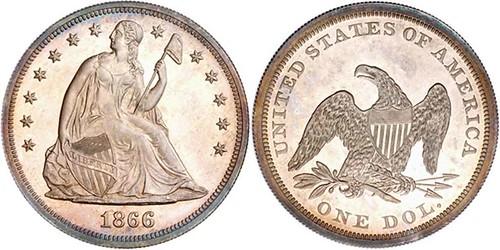 1866 Liberty Seated Dollar, No Motto