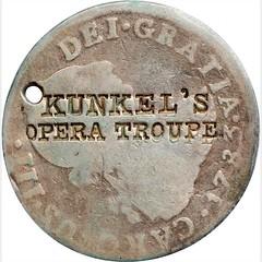 KUNKEL'S OPERA TROUPE Counterstamp obverse