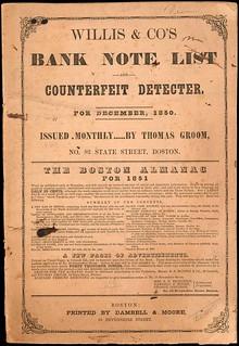 Willis Bank Note List December 1850