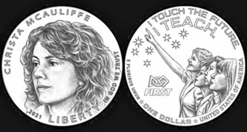 Christa McAuliffe coin design obverse