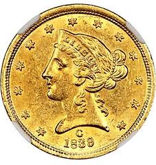 1839-C Half Eagle obverse