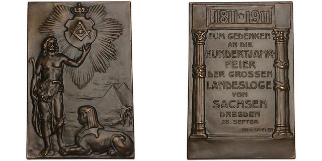 1911 Dresden Masonic Bronze Plaque