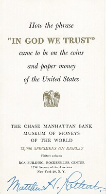 Chase Manhattan Bank Museum In God We Trust pamphlet