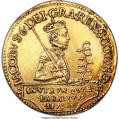 James VI gold 20 Pounds 1575 XF40 NGC_Hertage_Auctions_1