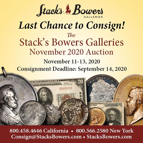 Stacks-Bowers E-Sylum ad 2020-09-06 2020-11 Consign