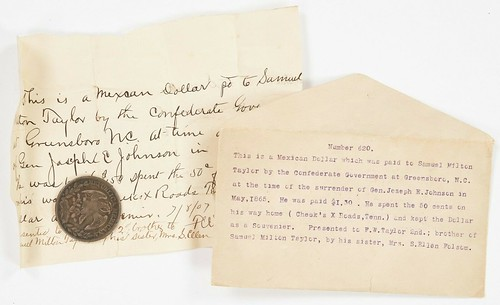 Samuel Milton Taylor Confederate treasury Mexican 8 reales letter