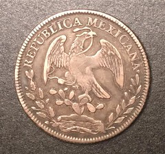 Samuel Milton Taylor Confederate treasury Mexican 8 reales reverse
