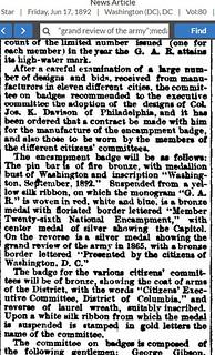 1892 GAR encampment badge article