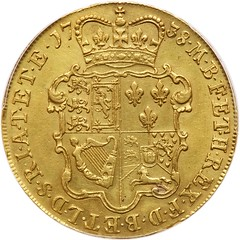 1738 George II 5 Guinea reverse