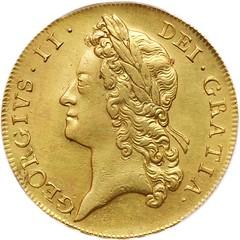 1738 George II 5 Guinea obverse