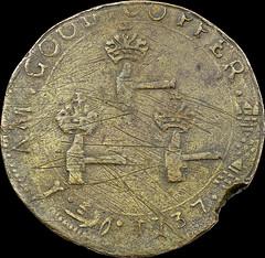1727 Higley Threepence Three Hammers reverse
