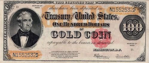 $100 1922 Gold Certificate Fr. 1215 PMG VF35