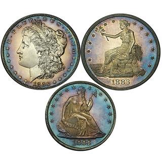 Original 1883 Proof Set Cent to Trade Dollar Enlargement B