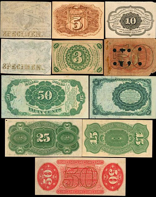Postal and Fractional Currency backs