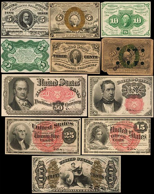 Postal and Fractional Currency fronts