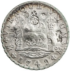 1749 Coiunterstamped Pillar Dollar reverse