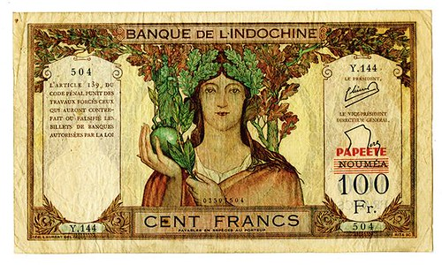 1940 Banque de l'Indochine Provisional Note face