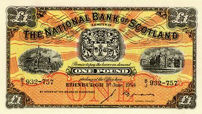 1954 National Bank of Scotland One Pound Note