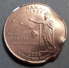 Dented 2008-D Hawaii State Quarter Reverse