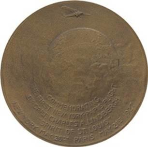 Lindbergh Major Bowes medal reverse