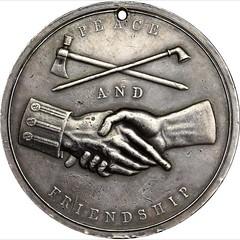 1841 John Tyler Indian Peace Medal reverse