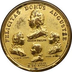 1693 Louis XIV Felicitas Domus Augustae Medal reverse