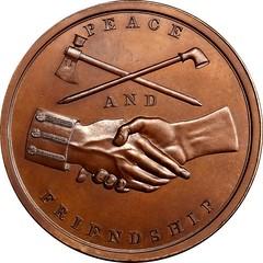 1853 Franklin Pierce Indian Peace Medal reverse