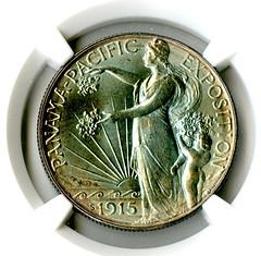 1915 S, 50C, Panama Pacific PCGS Gold Shield MS 67+