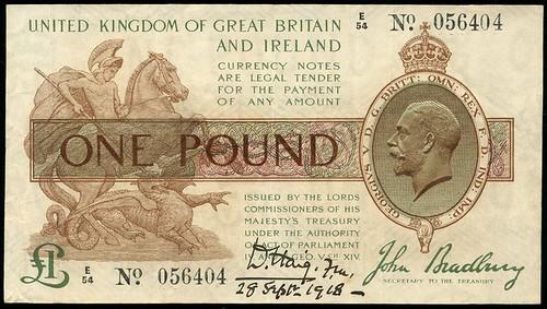 Bradbury £1 note Treasury Issue signed by Field Marshal Haig