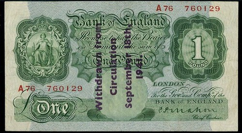 1941 Guernsey Overprint One Pound Note