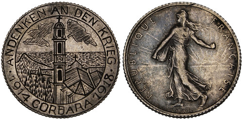 WWI Corsica Trench Art on  French Franc