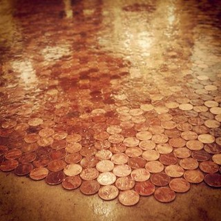 The Last Bookstore coin floor