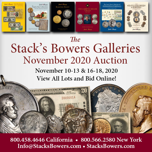 Stacks-Bowers E-Sylum ad 2020-10-18 2020-11 auction