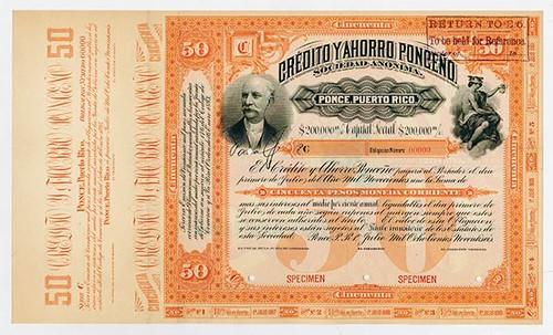 Lot 476 1893 Puerto Rico Moneda Corriente Bond