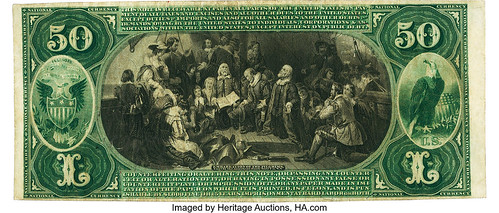 1875 $50 Charter National Bank Note back