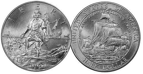 1992 Columbus half dollar