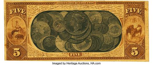 1870 $5 National Gold Bank Note back