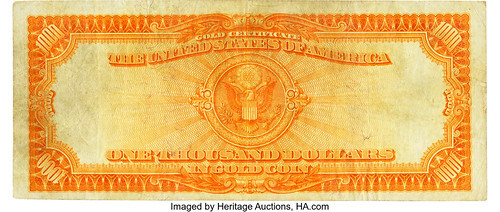 1907 $1000 Gold Certificate back