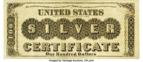 1880 $100 Silver Certificate back