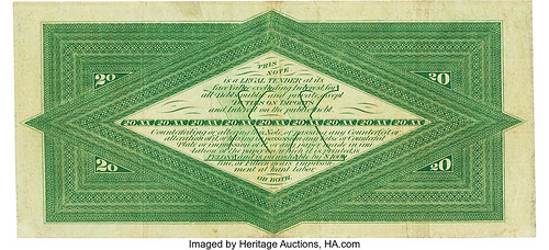1863 $20 Interest Bearing Note back