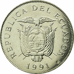 Ecuador 50 sucres 1991 with 5 dots WIDE  Date obverse